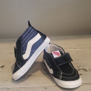 Vans navy blue velcro crib shoes
